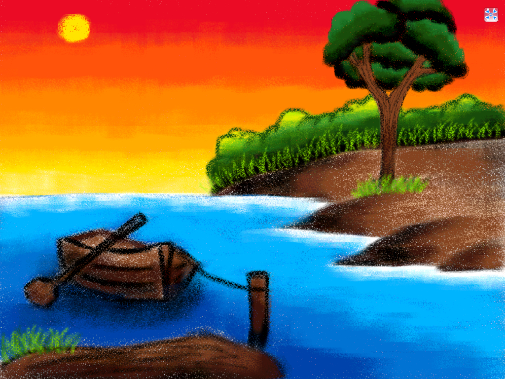 1024x768 Drawing Nature Scenery Sunrise Drawn Scenery Sunrise