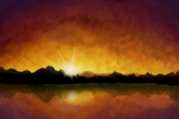 600x400 Sunrise A Landscape Speedpaint Drawing By Hanneke