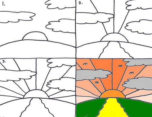 500x386 Drawing A Sunrise Art For Kids