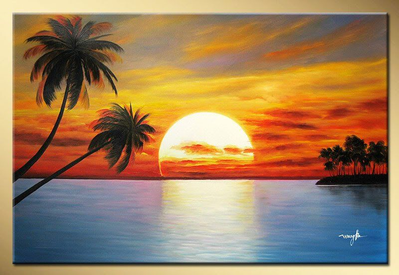 800x552 Art Works Hand Painted The Sun Rising Coconut Trees Decorative