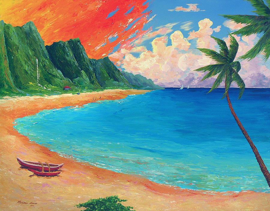 900x703 Beach Sunset Painting By Michael Baum