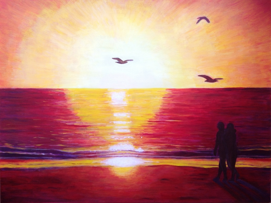 1024x769 Drawings Of Sunsets Beach Sunset Drawing Related Keywords Amp
