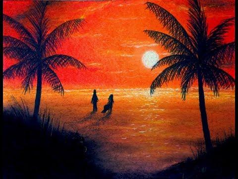 480x360 Sunset Beach Drawing Pastels