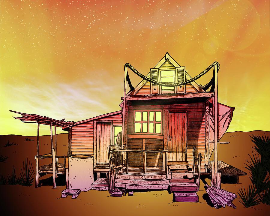 900x720 Sunset Beach Shack Drawing By J Olson Laf