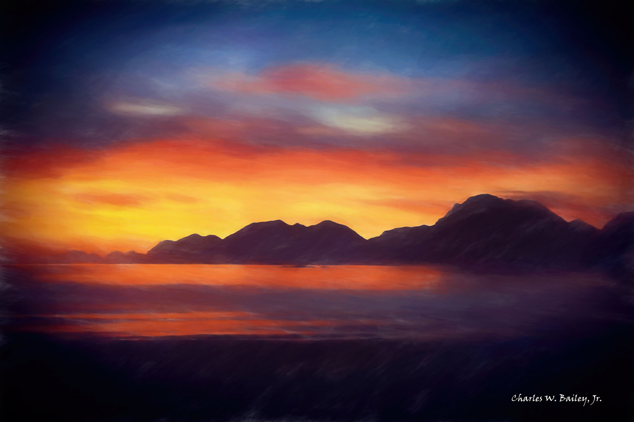 2048x1365 Digital Pastel Drawing Of A Sunset