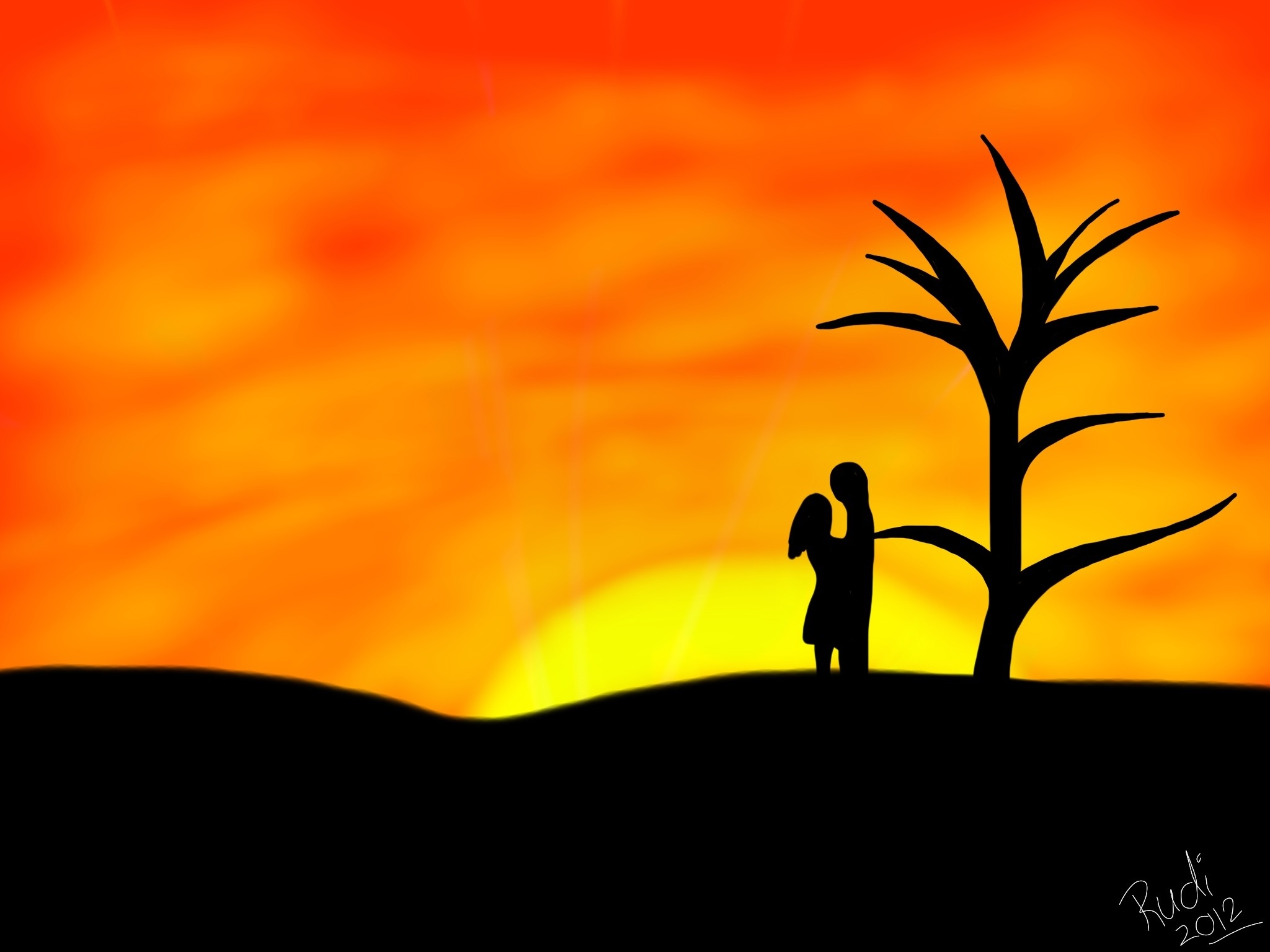 2048x1536 Lovers Sunset Ipad Art And Photography