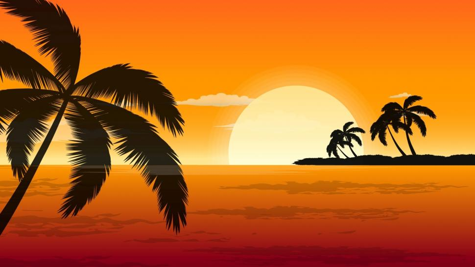 970x545 Orange Sunset Drawing Wallpaper Nature And Landscape Wallpaper
