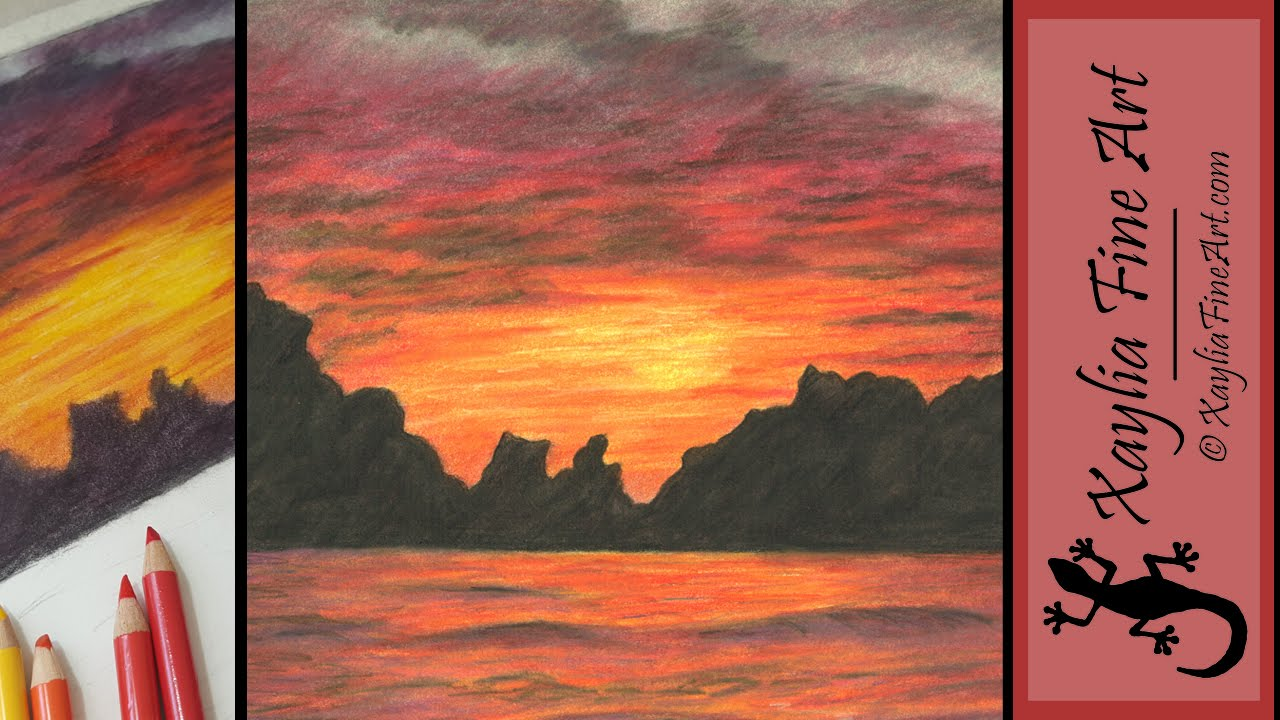 1280x720 Tutorial How To Draw A Sunset In Coloured Pencils