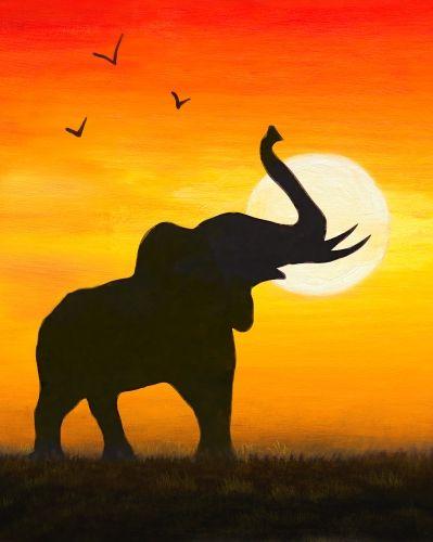 399x500 Elephant Sunset Painting Canvas Decor Animals Silhouette Acrylic