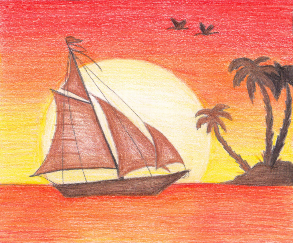 1024x849 Pencil Sketch Of Sunset Sunset Pencil Drawing Sunset Drawings