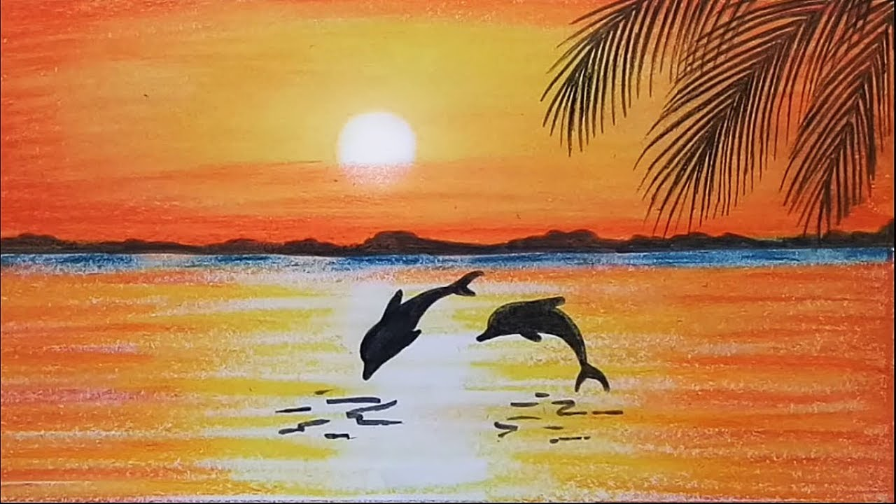 1280x720 How To Paint A Scenery Of Sunset With Oil Pastels Color Step By