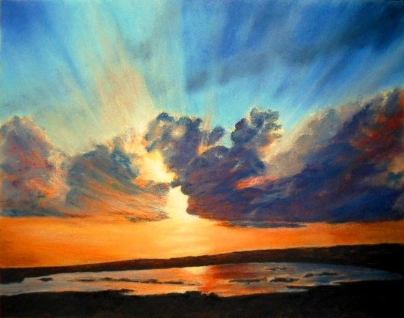 589x464 Sunset, Bursting Rays Oil Pastels By Mary