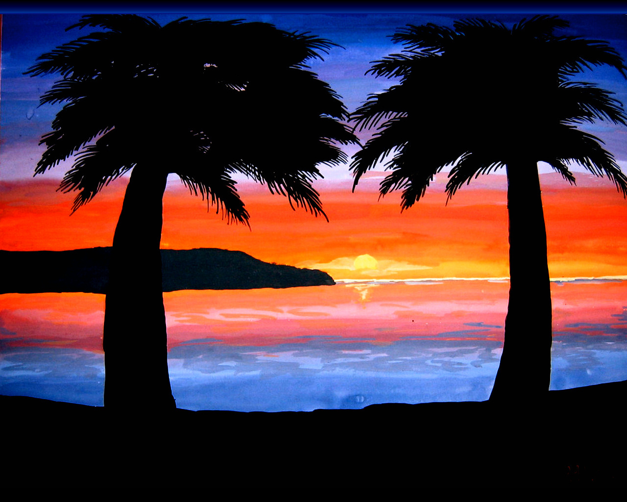 1280x1024 Sunset Colored Pencil Sunset Drawing In Colored Pencil