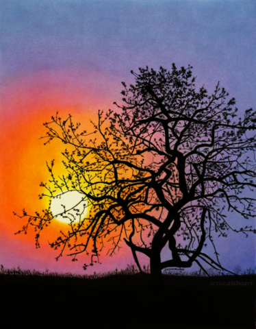 374x480 Colored Pencil Drawing Of A Sunset. Colored Pencil Drawings