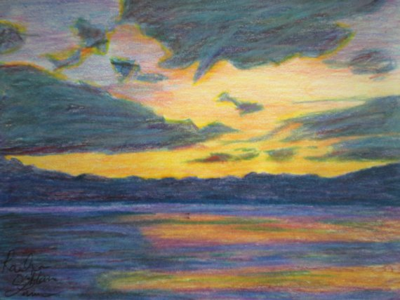 Sunsets With Colored Pencils Drawing At Getdrawings Com Free For