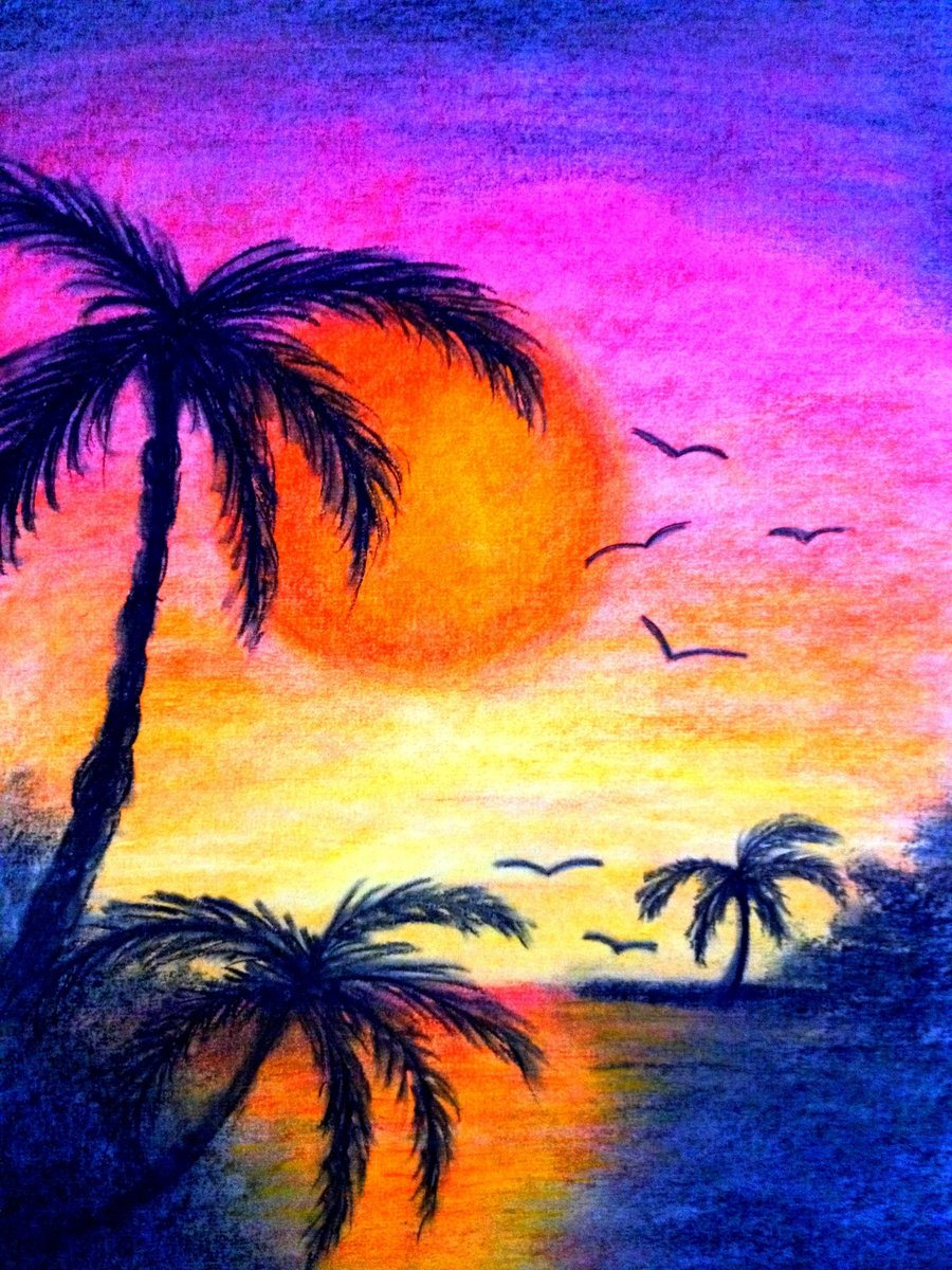 900x1200 Gallery Sunset Drawing In Colored Pencil,