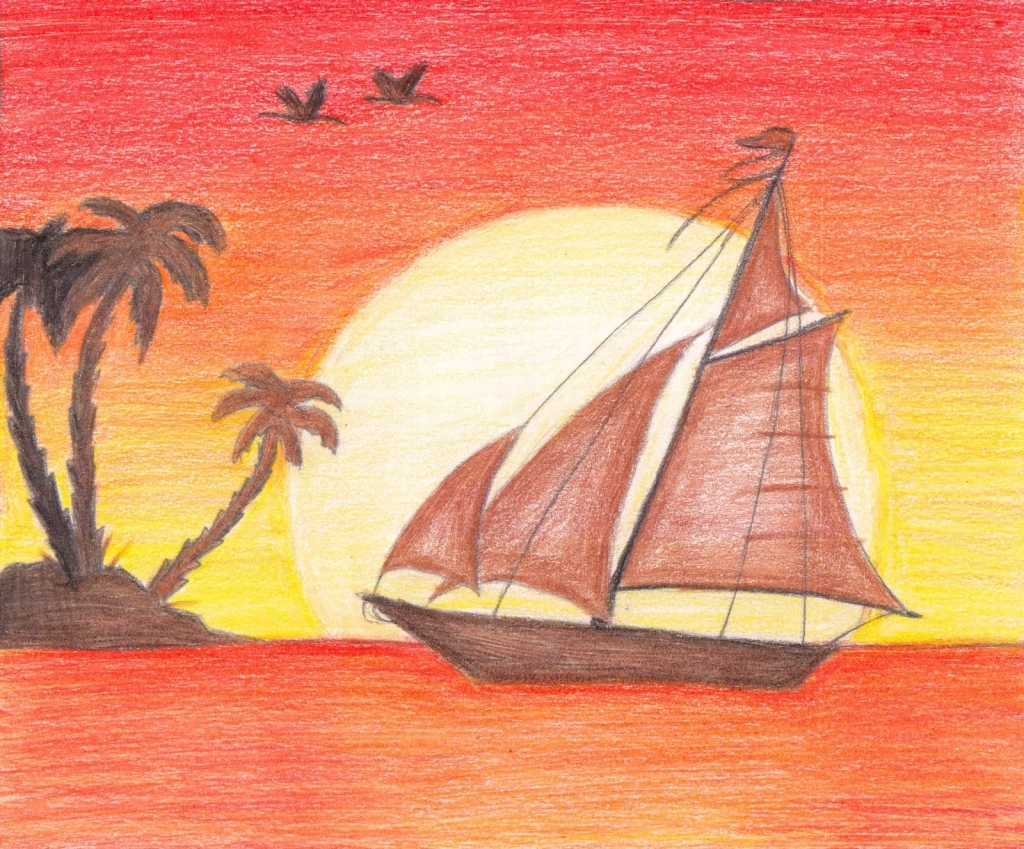 1024x849 How To Draw A Sunset With Colored Pencils Drawn Sunset Coloured