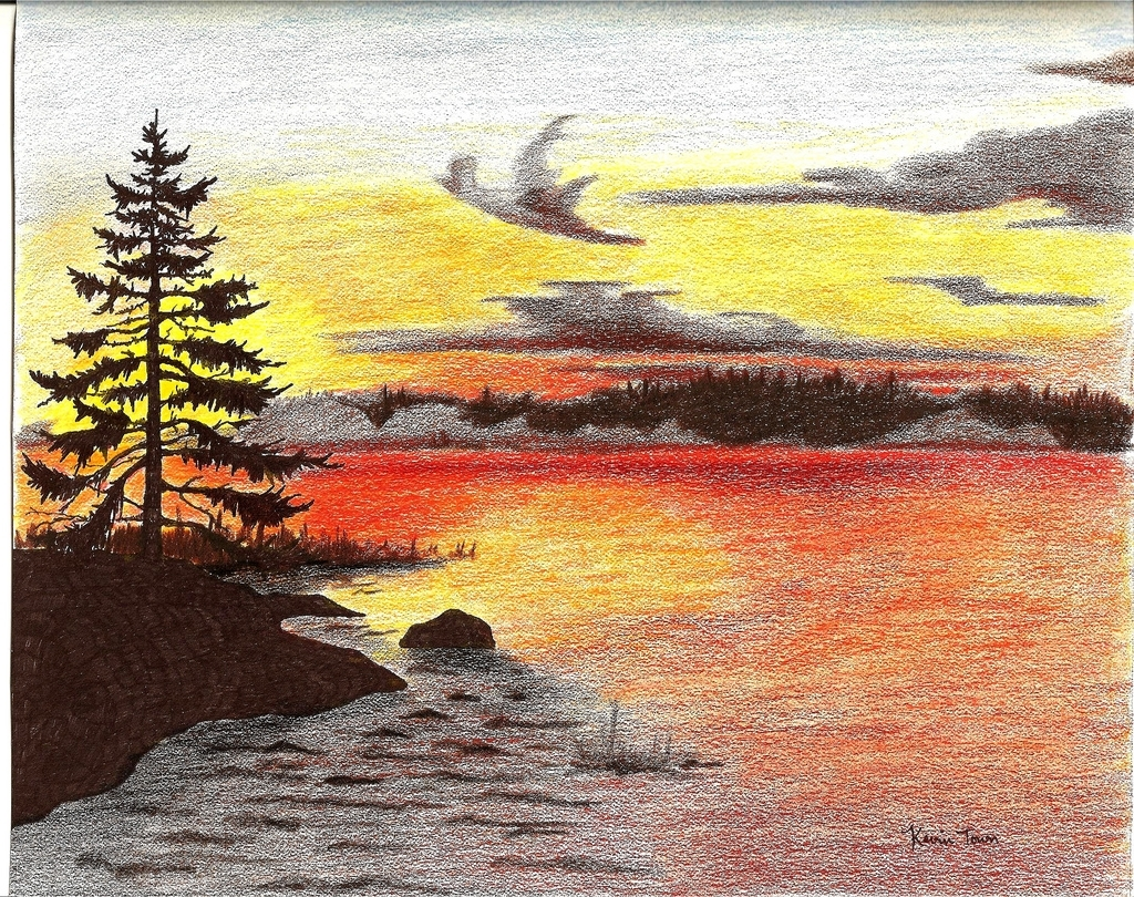 1024x810 Sunset Drawings In Pencil Pencil Drawings Colored Pencil Sunset
