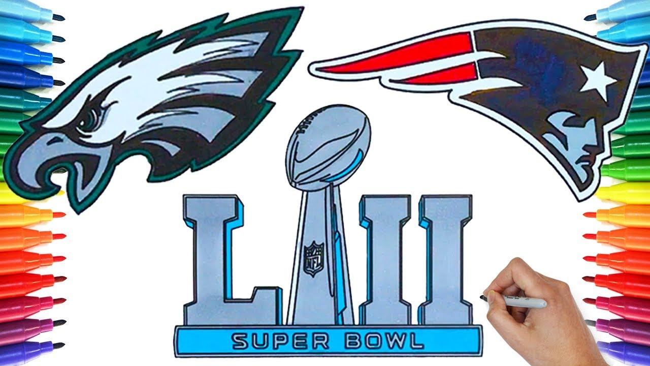 1280x720 Drawing Super Bowl Lii, Eagles Vs Patriots 2018 Drawing Coloring