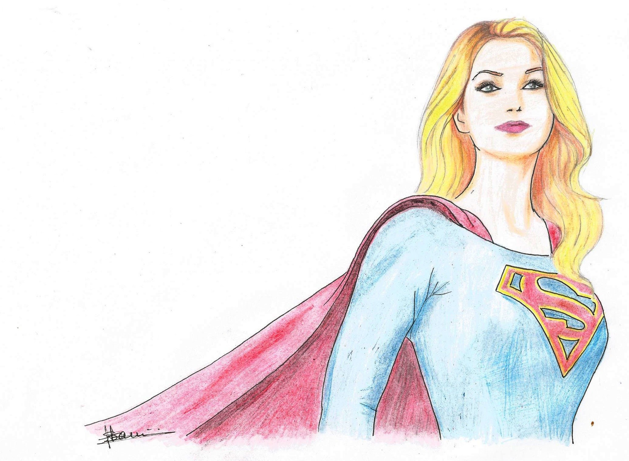 2071x1518 Speed Drawing Kara Zor Elsupergirl (Dc Comics)