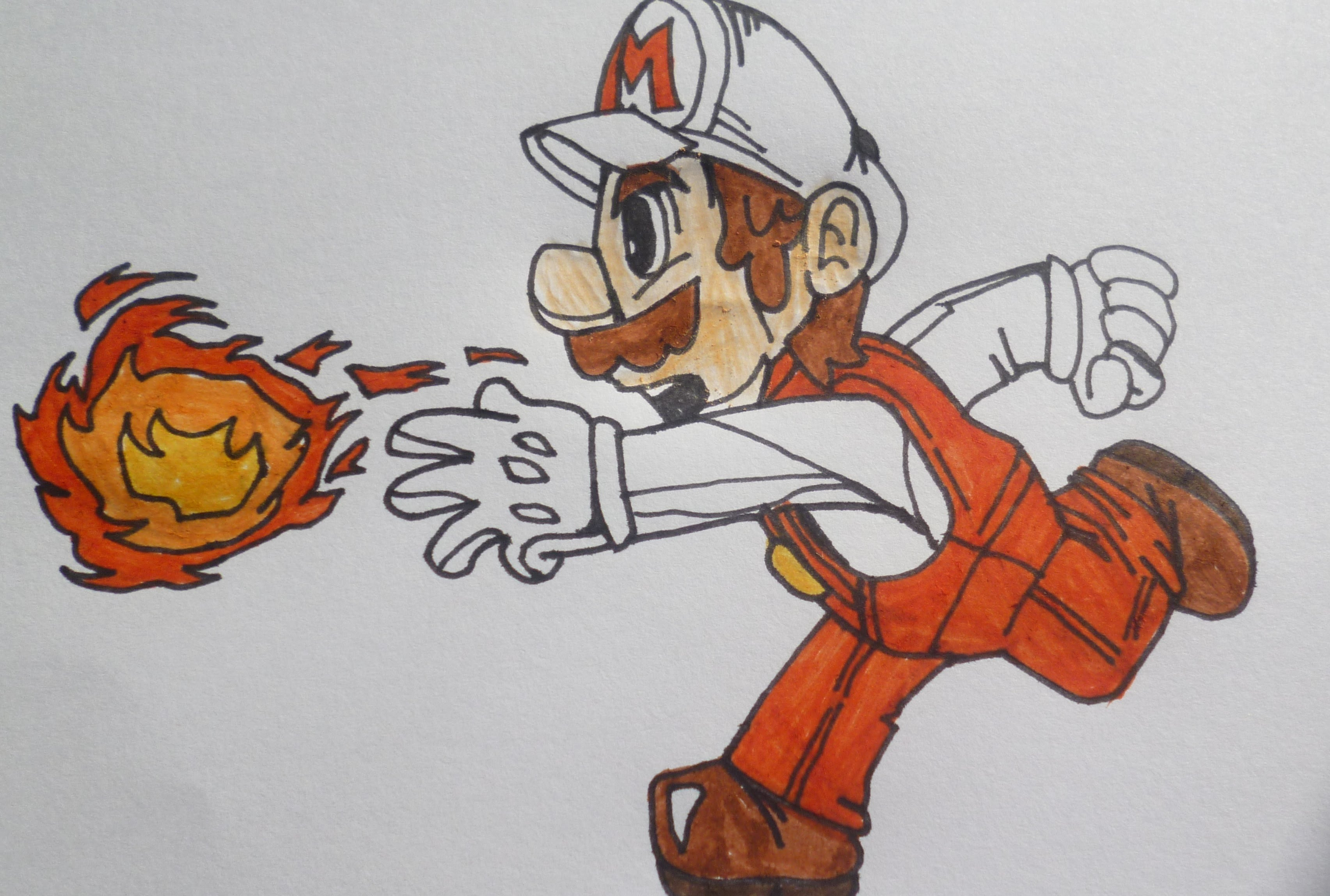3409x2297 Fire Mario Drawing