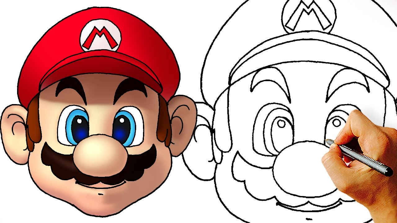 1280x720 How To Draw Mario Head (Super Mario Characters)