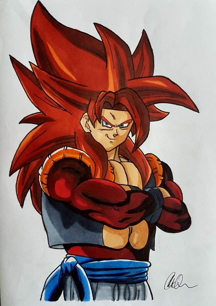 722x1024 My Drawing Of Super Saiyan 4 Gogeta Dragonballz Amino