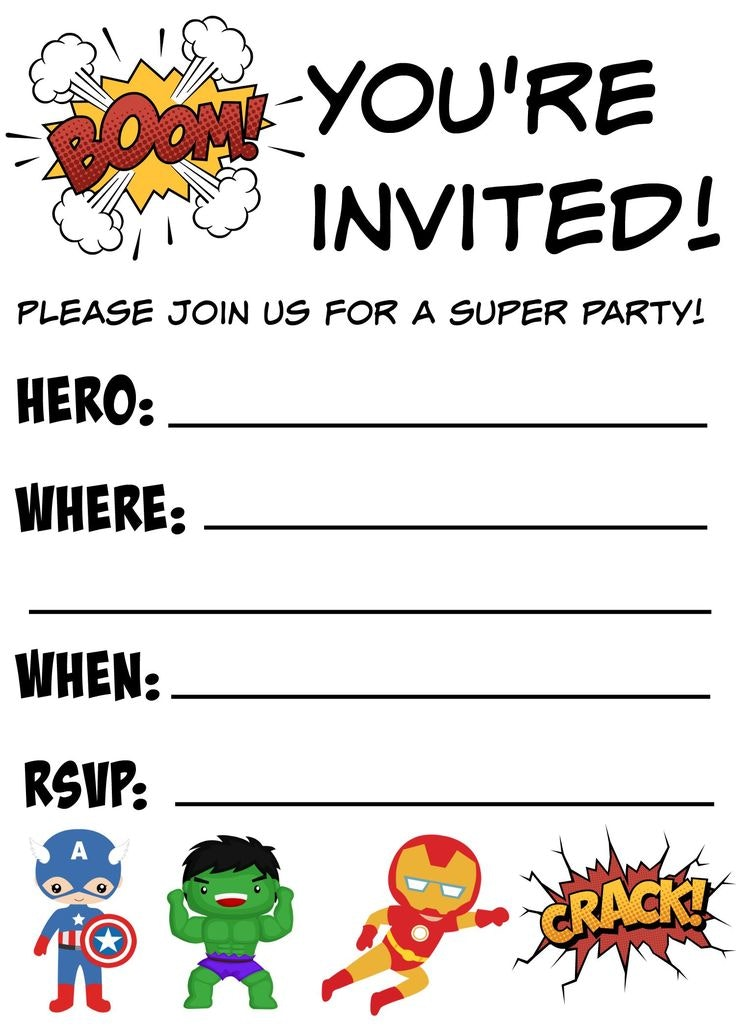 736x1030 Printable Birthday Invitations Superhero Party Invitation Template