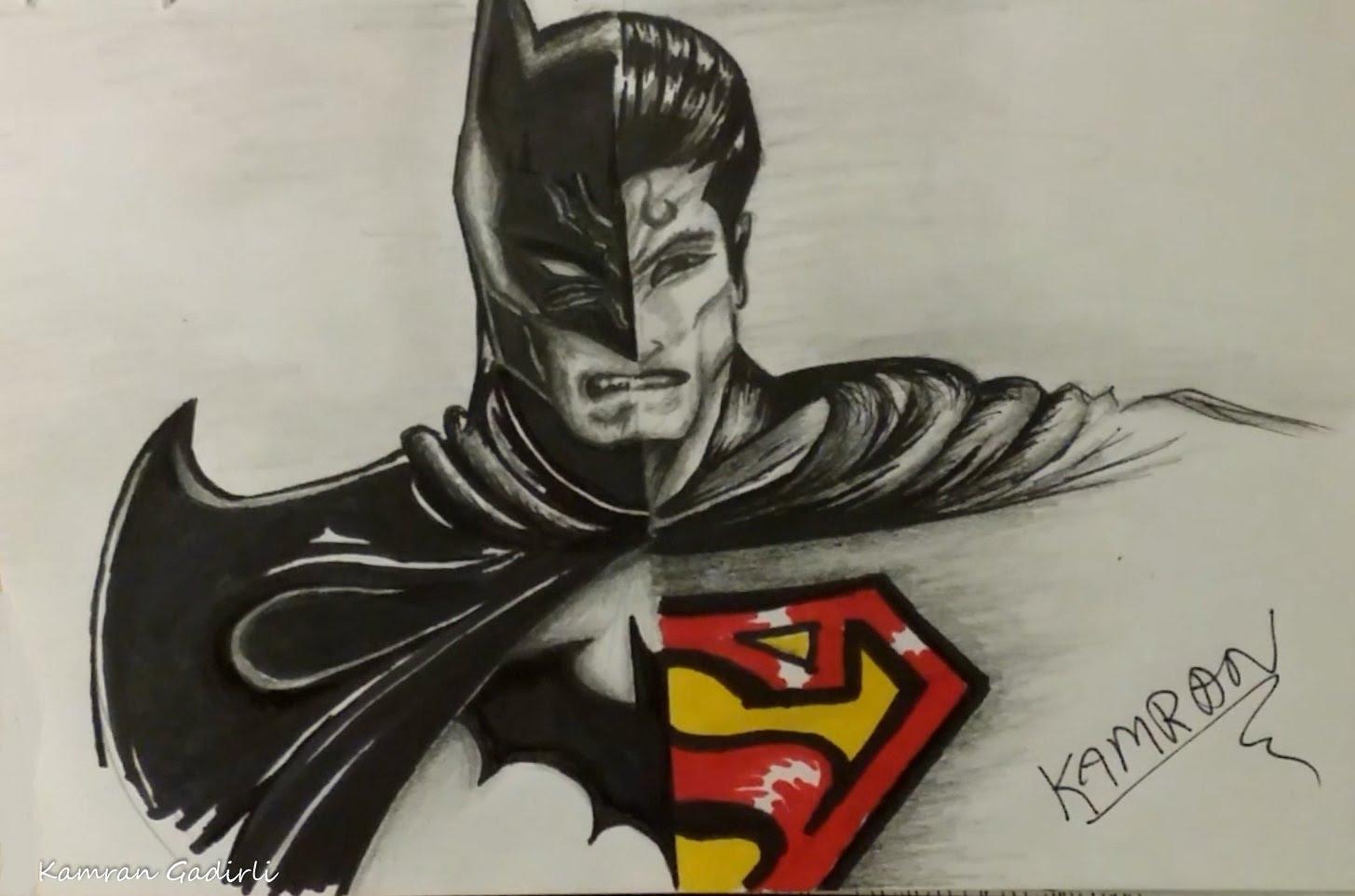1455x962 Batman And Superman Drawing Drawn Batman Superman And Batman