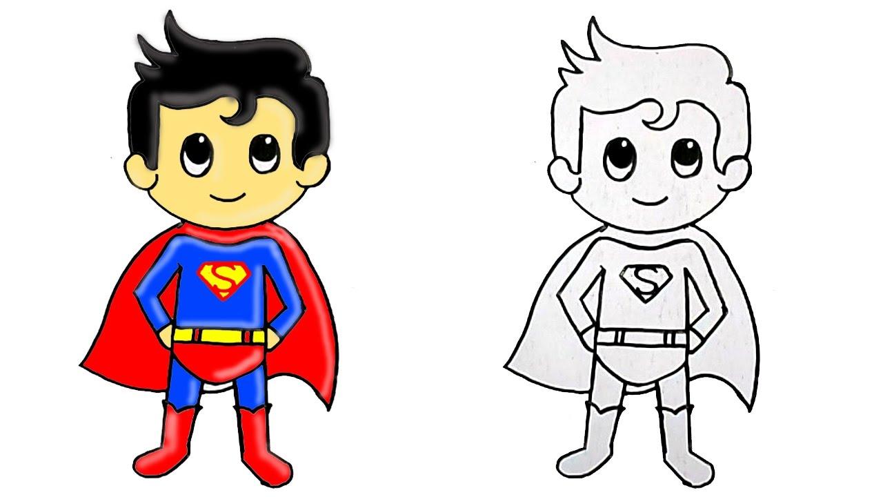 1280x720 Superman Cartoon Drawing