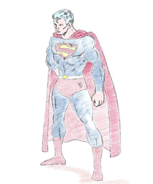 500x599 A Little Pencil Drawing Of Superman. Sketches