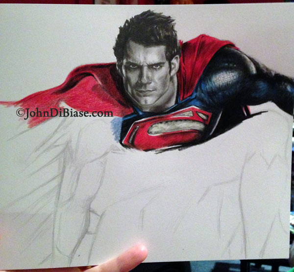 600x556 Process Of A Portrait Superman (Henry Cavill) [Colored Pencil