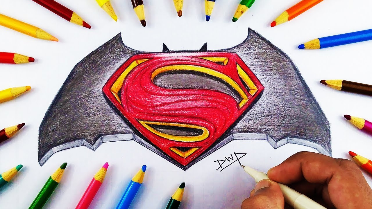 1280x720 How To Draw Batman Vs Superman Logo Drawing Step By Step Easy