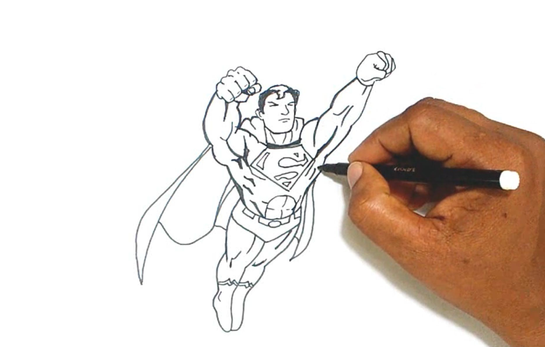 Line Art Photo Tutorial : Superman drawing tutorial at getdrawings.com free for personal use