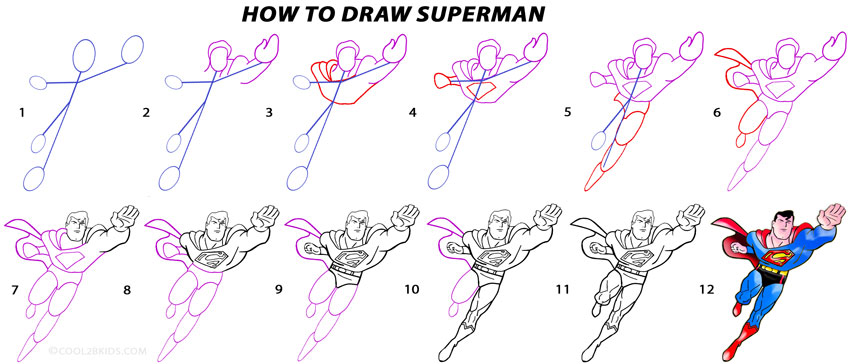 850x364 How To Draw Superman (Step By Step Pictures) Cool2bkids