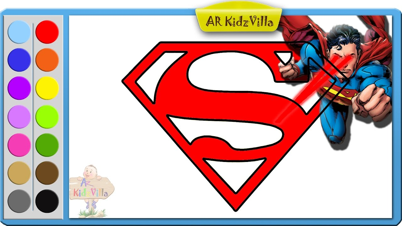 1280x720 Superman Drawing S Symbol Coloring Pages And Learn To Color