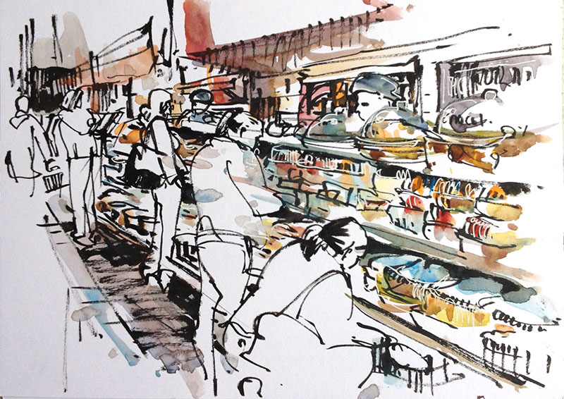 800x566 Drawing Busy Places At The Supermarket Sketch Away Travels