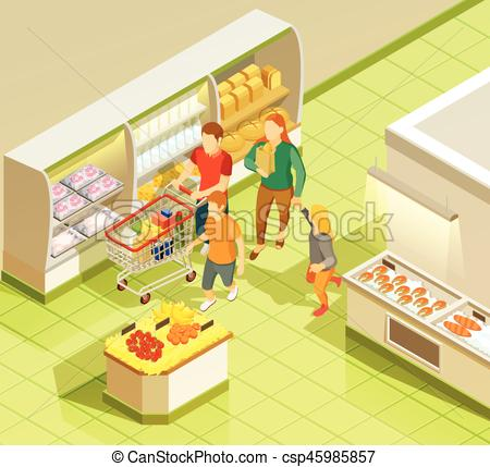 450x429 Family Grocery Shopping Supermarket Isometric View. Family