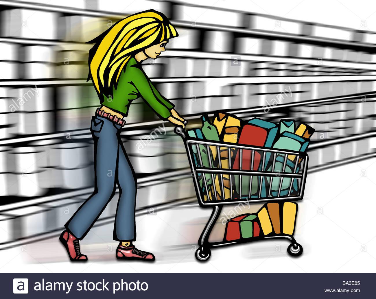 1300x1034 Illustration Manga Supermarket Woman Young Blond Shopping Carts
