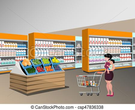 450x366 Mom Shopping With Kids. Woman In Supermarket. Vectors