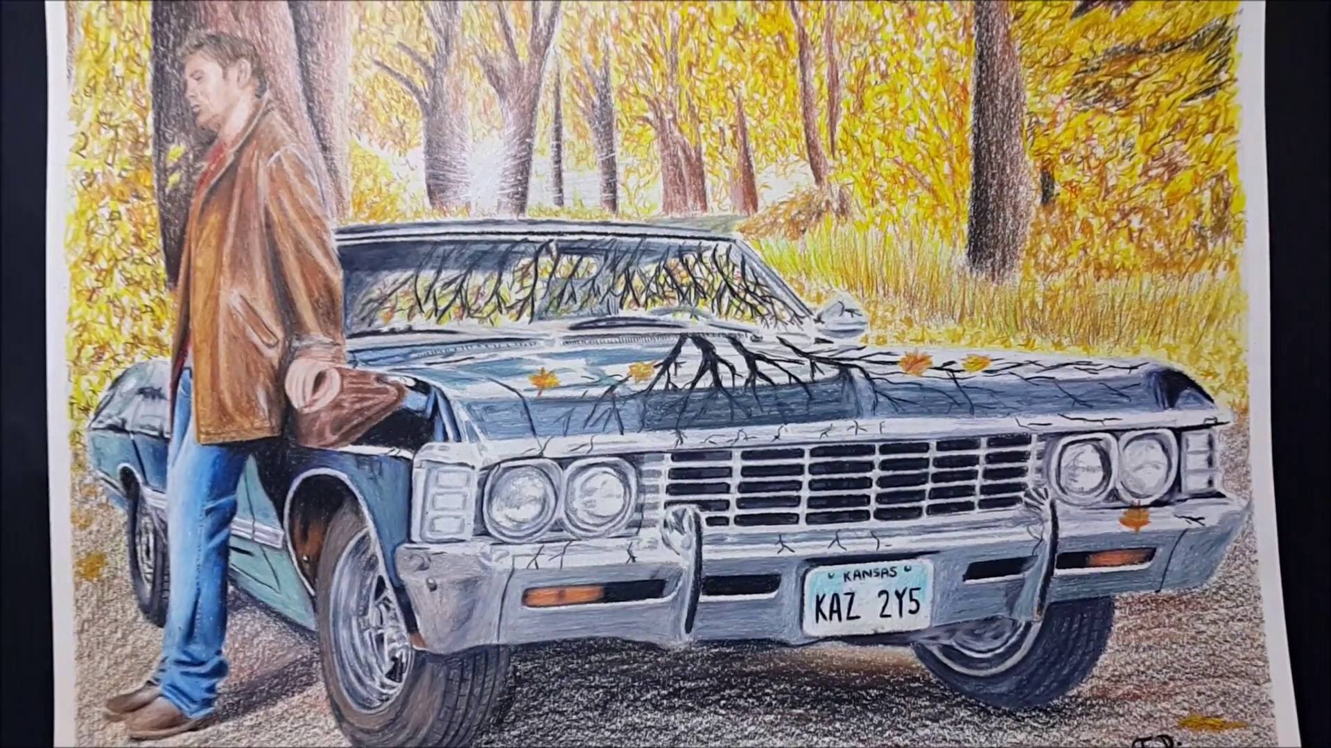 1920x1080 How To Draw Dean Winchester With Impala 67 Supernatural [Speed
