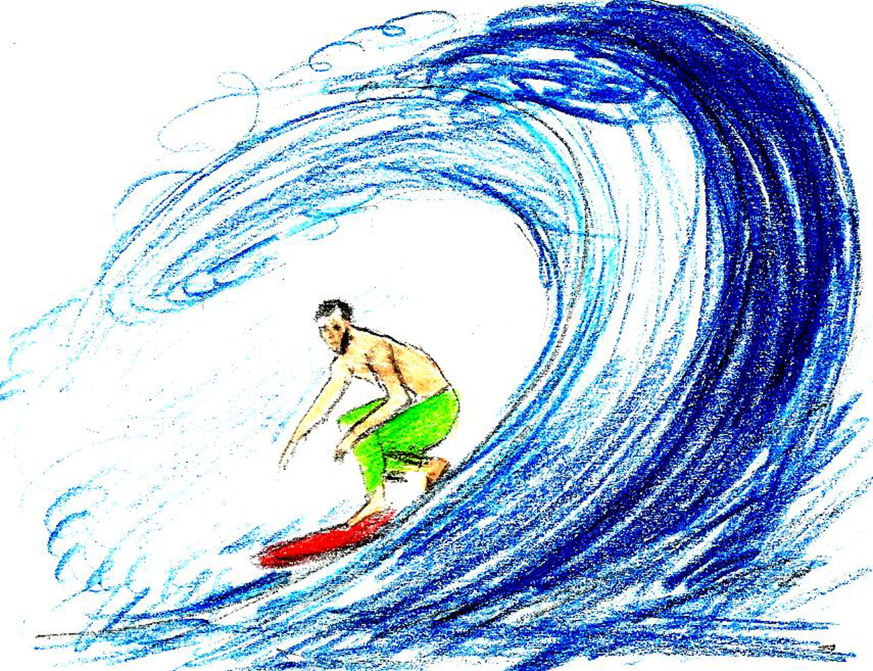 2880x2213 Surfing Drawing