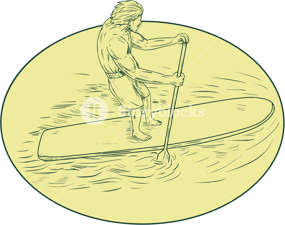 1000x790 Drawing Sketch Style Illustration Of A Surfer Dude On A Stand Up