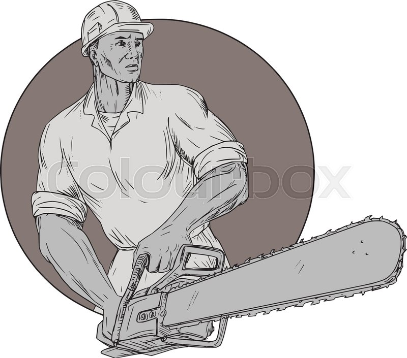 800x705 Drawing Sketch Style Illustration Of Lumberjack Arborist Tree