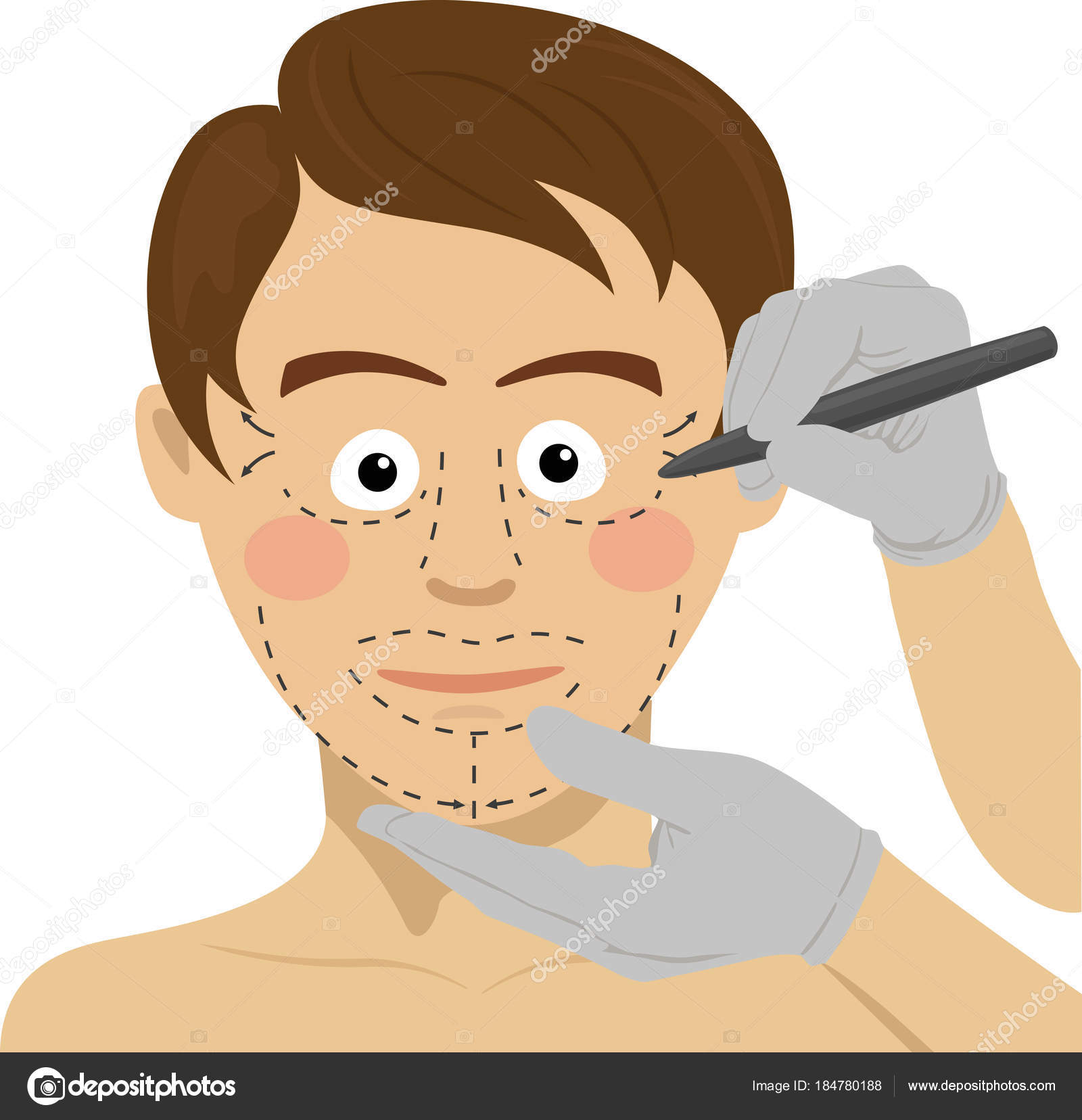 1600x1656 Surgeon Drawing Marks On Male Face. Plastic Surgery Concept