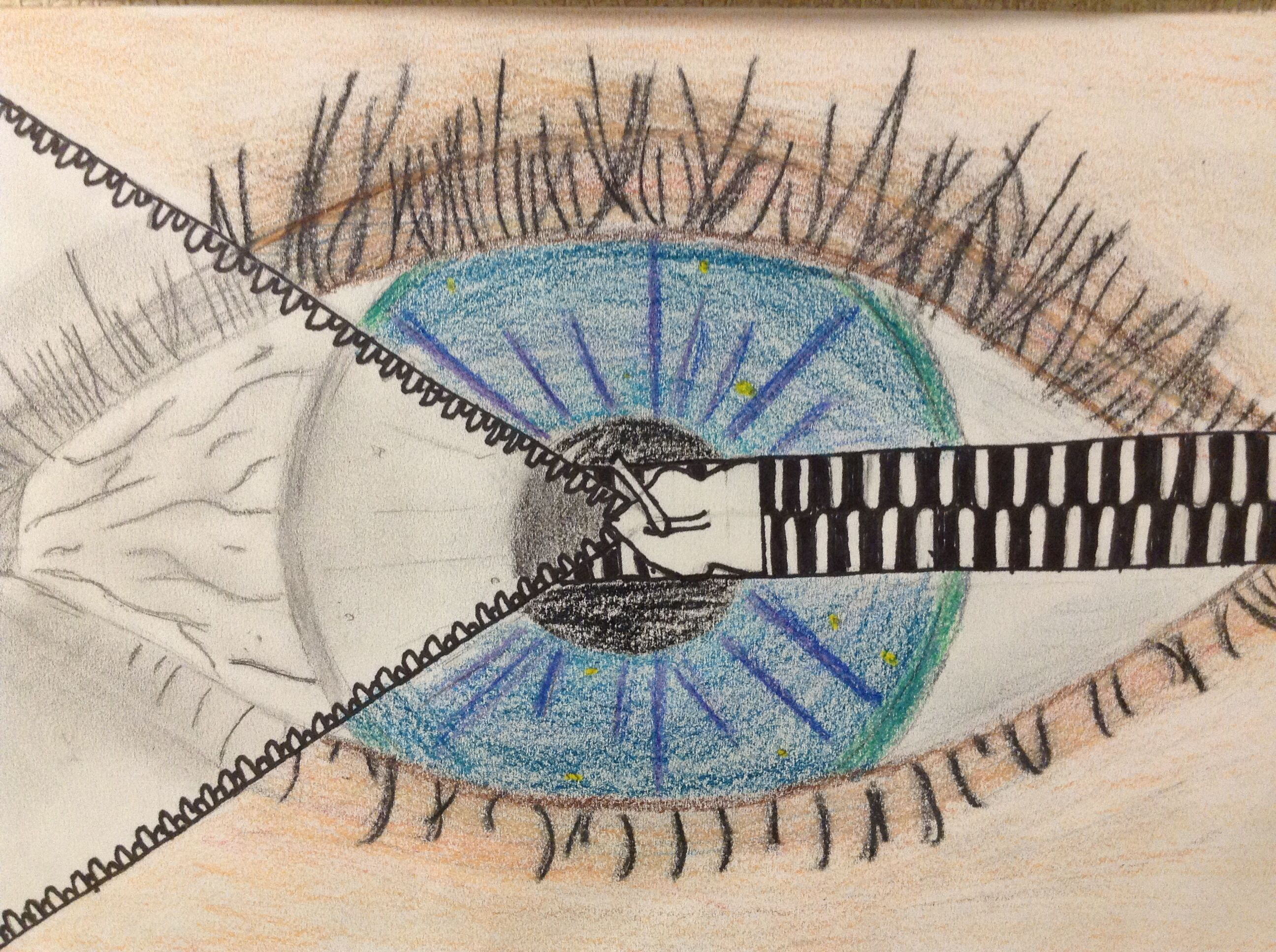 2592x1936 Surreal Eye, Middle School Drawing Class, Inspired By Magritte
