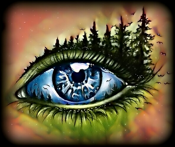 592x496 My Edit Eye Surrealism Nature Trees Birds Drawing