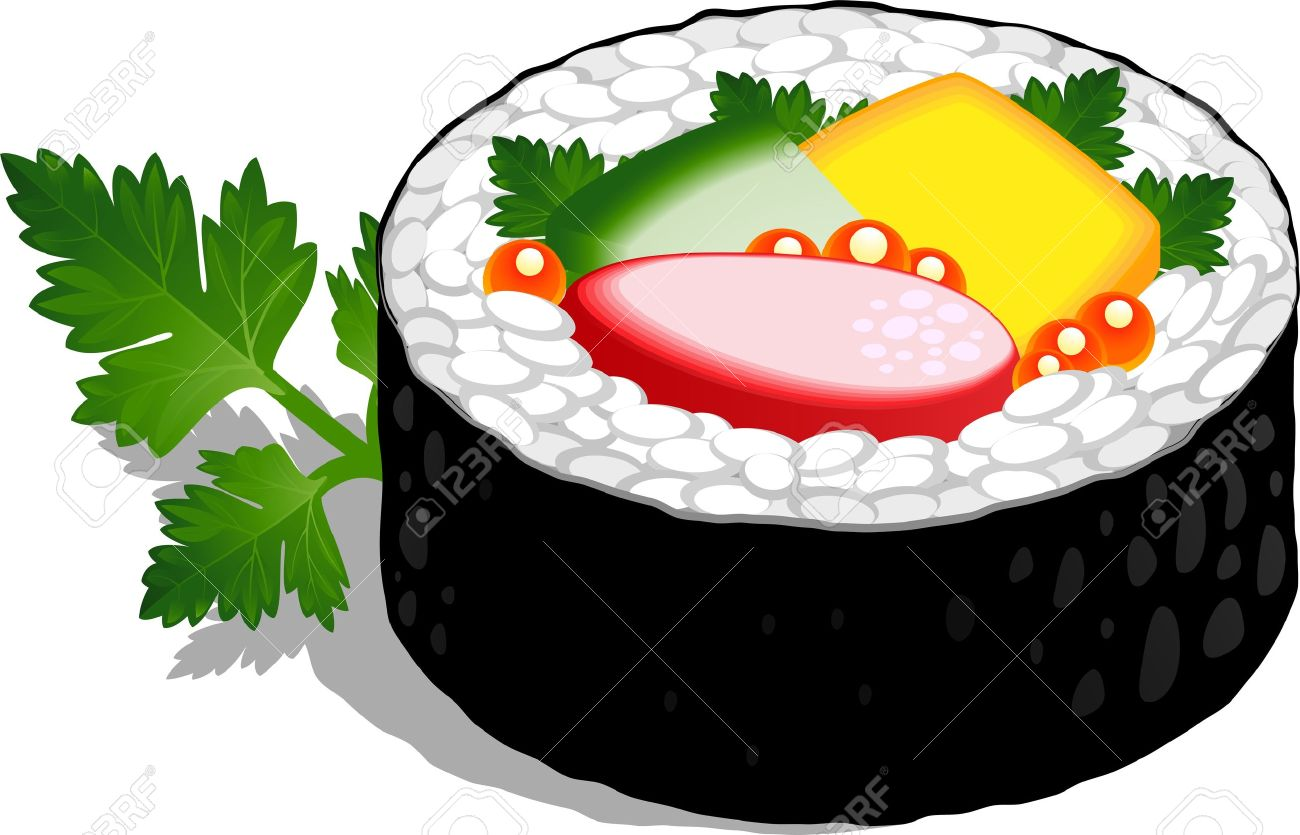 1300x835 Sushi Roll Over White. Royalty Free Cliparts, Vectors, And Stock