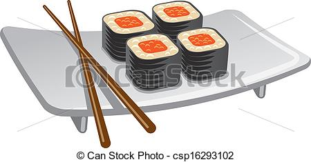 450x235 Sushi Roll Vector Clipart