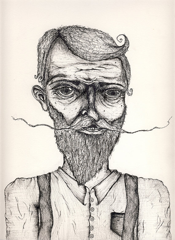 570x781 Mustache Beard Suspenders Drawing 8x10 Movember Art By Seabelly